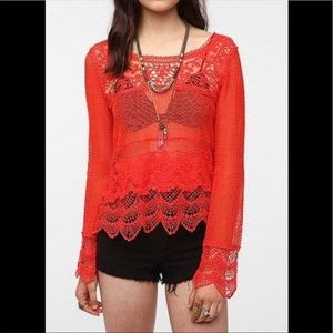 UO Staring at Stars Long Sleeve Crochet Lace Top L